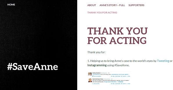SaveAnne website