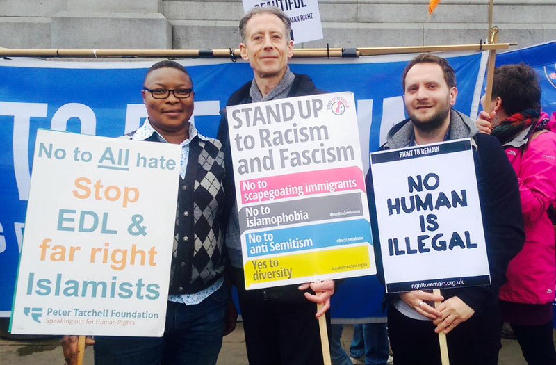Aderonke Apata, Peter Tatchell, and Paul Dillane with Lisa and Right to Remain